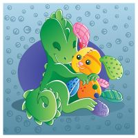Dino and his bunny vector by jkBunny