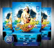 Beach Party Flyer Template by Grandelelo
