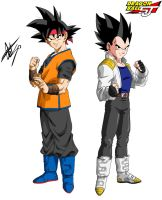 Goku Jr and Vegeta Jr - Dragon Ball Shin Jidai by celsohenrique