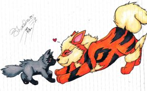 Arcanine and Poochyena loves by bshadow93