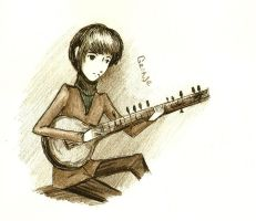 George with sitar by FG-Twins