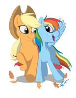 Applejack and Rainbow Dash by Minxie777