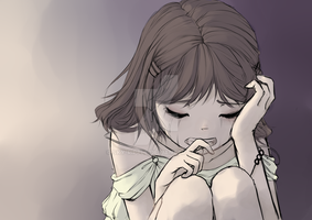 Emotion Study: Crying girl by Sky-Ripple