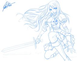 Erza Scarlet - SKETCH by jadeedge