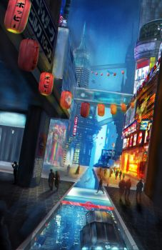 Matte Painting - Futuristic City by AhYou