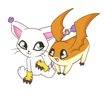 .:Gatamon y Patamon:. by Lord-Hon