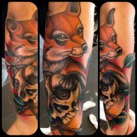 neo traditional fox tattoo by WillemXSM