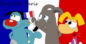 Oggy, Loulou and Rayman Pray for Paris by JustinandDennnis
