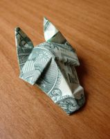 Dollar Bill Origami Horse Head by craigfoldsfives