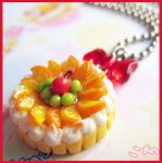 Fruit Tart Cake Necklace by cherryboop