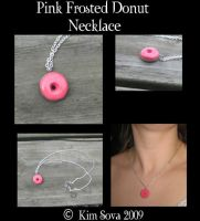 Pink Frosted Donut necklace by teiris