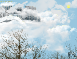 Cloudsdale over the trees by ArtOfCanterlot