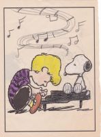 Schroeder and Snoopy Coloring Page, My Style by AspiringToBeLikeHe