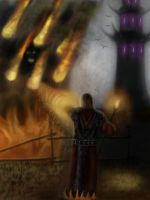 Gothic: Fire Mage near the necromancer's tower by AndreCronos