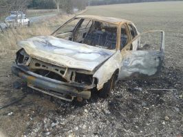 (Stock) Burnt out car 1 by DaddyHoggy