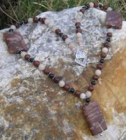 Mahogany n Pink Avent necklace by DAnnsCreations
