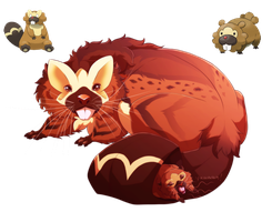 Bibarel and Bidoof- Flat tailed Fuzzballs by blueharuka