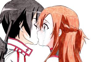 Kirito and Asuna's kiss part 1 x3 by SummonerDagger88