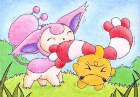 Skitty and Chingling by jeazard