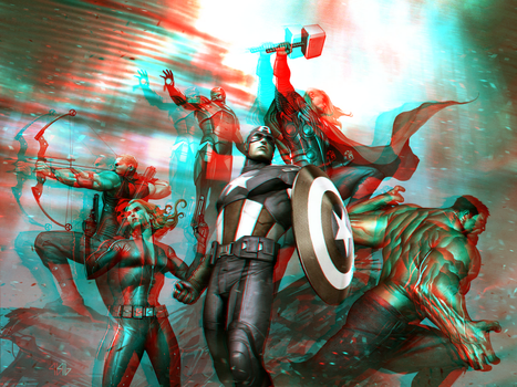 MCU Avengers by Adi Granov in 3D Anaglyph by xmancyclops