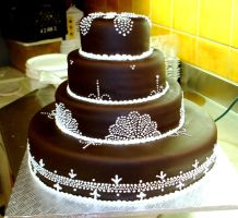 Chocolate fondant wedding cake by buttercreamfantasies