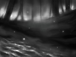 Forest sketch bw by Alkven