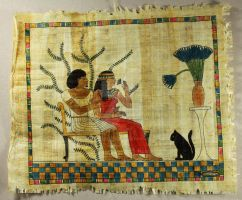 Egyptian Papyrus Ink Drawing: Couple with Cat by BeautifulEarthStudio