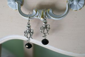 Dark Treasure Octopus Earrings by MonsterBrandCrafts