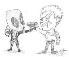 Commission by art-ikaro: Deadpool vs Cable by luke-crowe