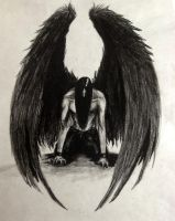 Fallen: Charcoal drawing by Hannavos