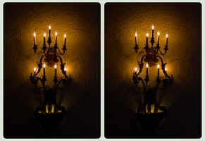 Wall Chandeliers 3-D HDR/Raw CrossEye Stereoscopy by zour