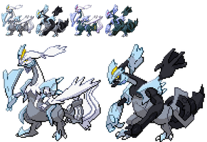 Black White kyurem alternate forme sprites by DMN666