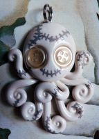 White Stitchpunk Octopus Necklace by BlackMagdalena