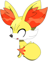 Fennekin sitting down pose, part one 9/37. by Flutterflyraptor