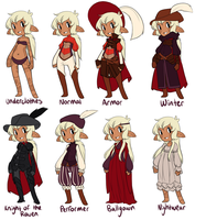 Outfit sheet for a spoony bard by MagicalZombie