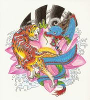 Tiger and Dragon on lotus by bthslayr