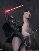 Darth Vader Riding a Unicorn by GloriousRyan