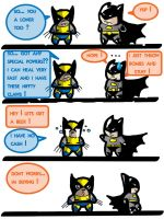 Wolverine and Batman by Raskulnikov