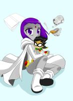 Little Raven with Plushie Robin by RednBlackDevil
