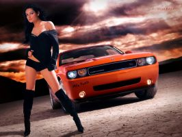 Dodge Challenger vs Mila Kunis by mkkoja