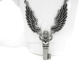 Winged Key Necklace by pila12903