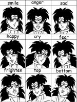 A variety of faces of broly by xuan2046