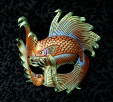Iridescent Fighting Fish Leather Mask by merimask