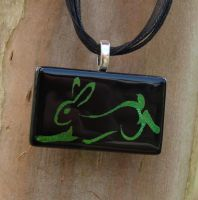 Calligraphy Rabbit Glass by FusedElegance