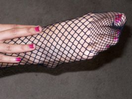Fishnetted Foot by persephone20