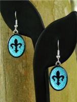 Fleur De Lis Earrings Glass Bl by FusedElegance
