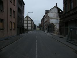 Street in ruins by CopperSaturday
