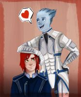 Doodle noodles with Femshep and Liara by Themanlylobster