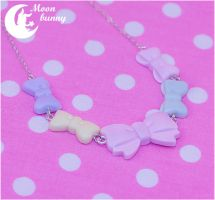 Pastel mint ribbon bow Necklace by CuteMoonbunny