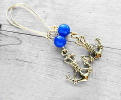 Blue Gemstone Antique Brass Anchor Charm Earrings by crystaland